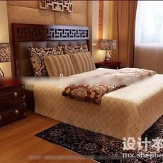 中式双人床3d模型下载