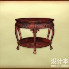 红木圆桌3d模型下载