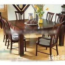 6人桌椅3d模型下载