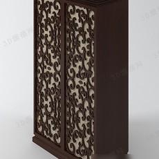 中式雕花衣柜3d模型下载