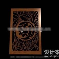 中式屏风隔断3d模型下载
