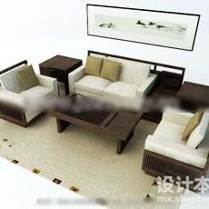 中式沙发3d模型下载