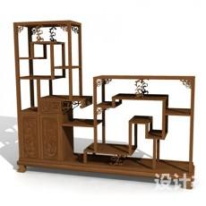 中式家具博古架3d模型下载