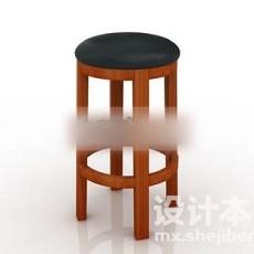 酒吧木头椅子3d模型下载