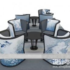 四人餐桌3d模型下载