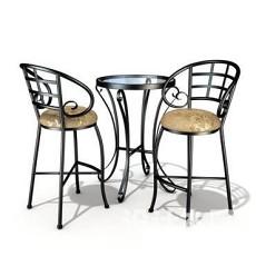 室外咖啡桌椅3d模型下载