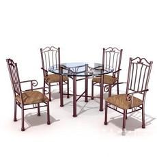 室外桌椅组合3d模型下载