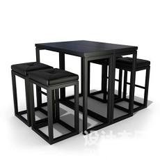 4人桌椅3d模型下载