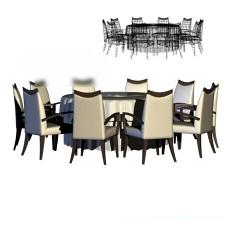 10人餐桌3d模型下载