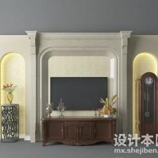 欧式客厅背景墙3d模型下载