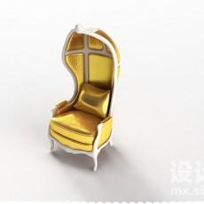 欧式高背椅3d模型下载