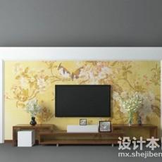 田园风格电视墙3d模型下载