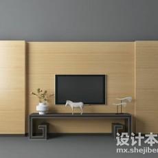实木整体电视墙3d模型下载