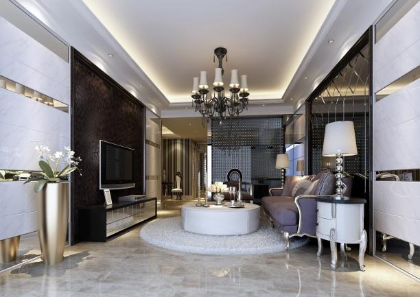 欧式风格客厅吊灯3d模型