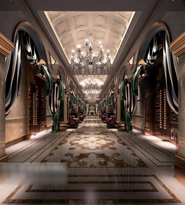 欧式工装走廊3d模型