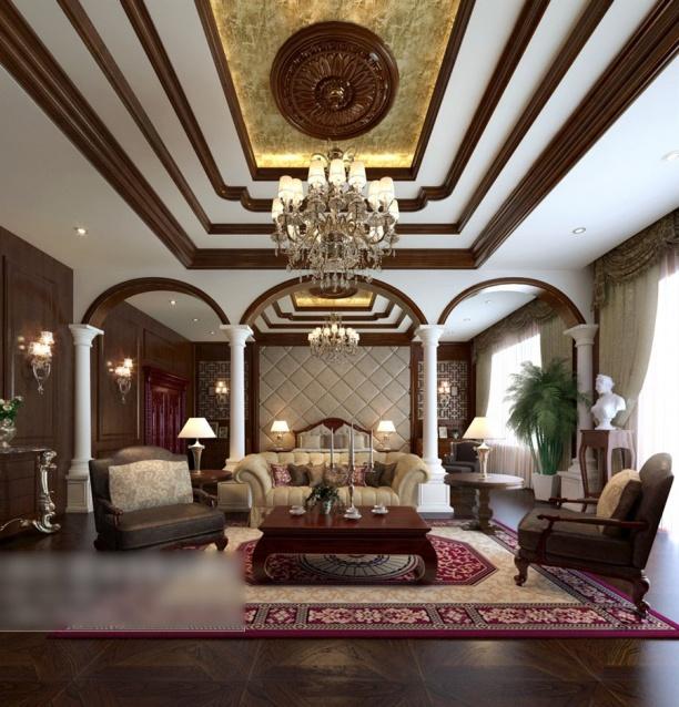 家装客厅吊顶吊灯模型