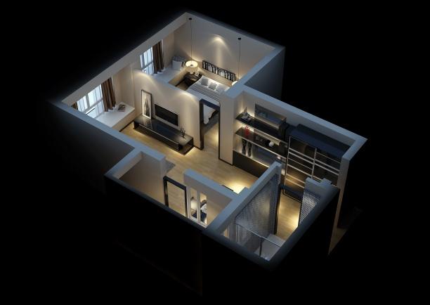 家装小户型整体模型