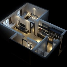 家装小户型整体3d模型下载