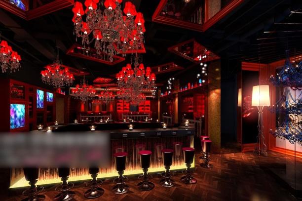 红色工装餐厅3d模型