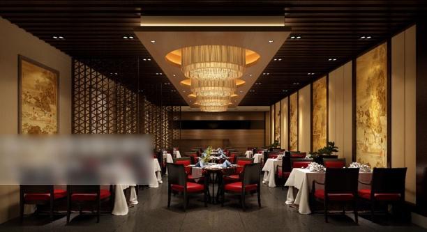 中式工装餐厅模型