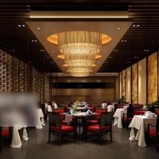 中式工装餐厅3d模型下载