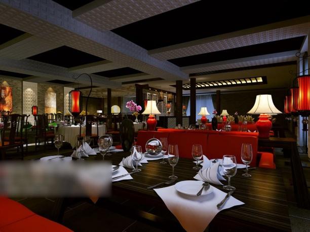 工装餐厅3d模型