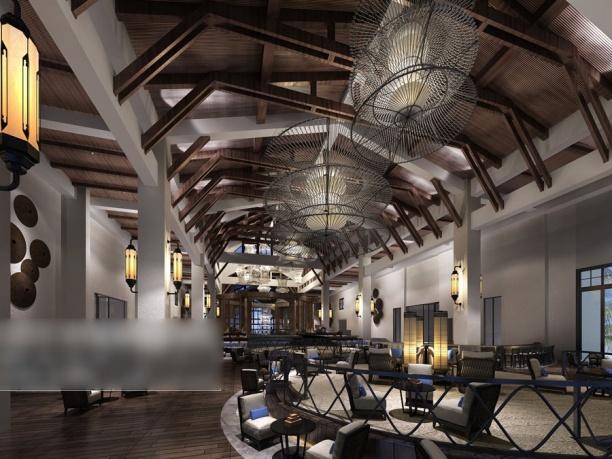 工装餐厅木质吊顶3d模型