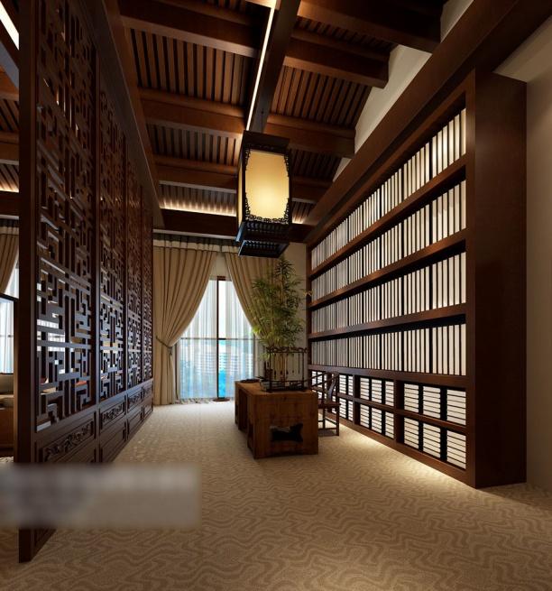 木质吊顶书房模型