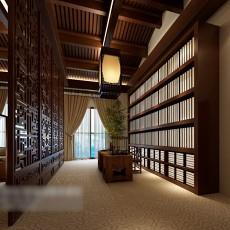 木质吊顶书房3d模型下载