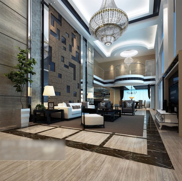 别墅现代客厅背景墙模型
