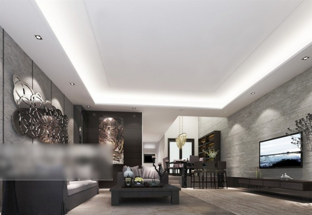 客厅沙发背景墙模型