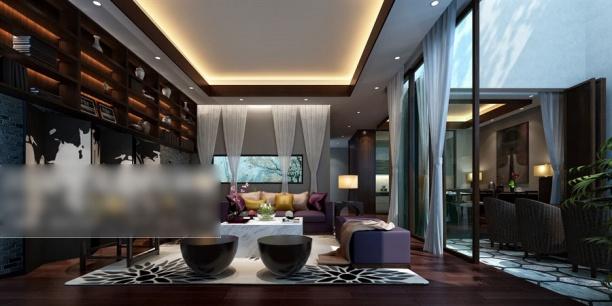 别墅客厅窗帘模型