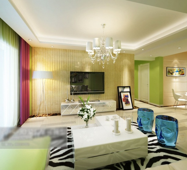 3d客厅电视墙模型