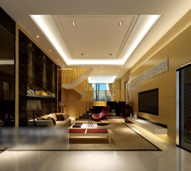 别墅客厅吊顶3d模型