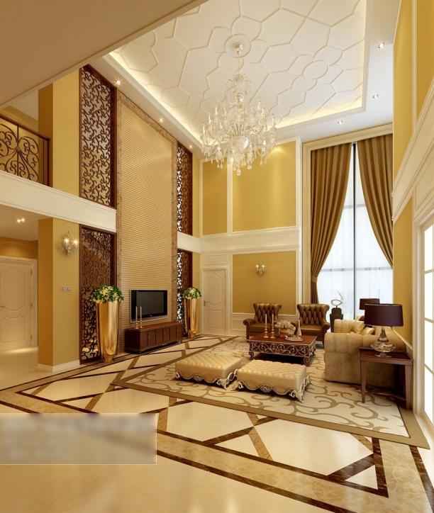 别墅客厅水晶灯模型