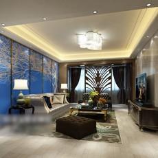 蓝色沙发背景墙3d模型下载