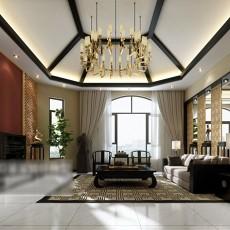 新中式客厅窗帘3d模型下载