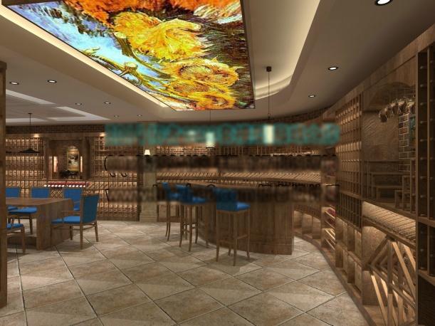 工装中式餐厅3d模型