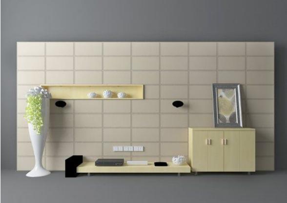 灰色电视墙3d模型下载