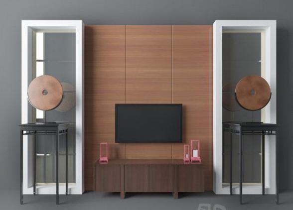 泰式电视墙3d模型下载