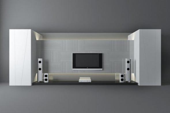 白色电视墙3d模型下载