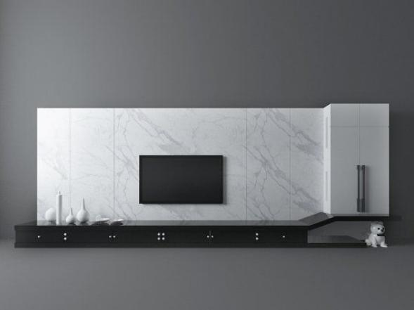 现代风格白色电视墙模型