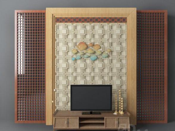 木质电视墙3d模型下载