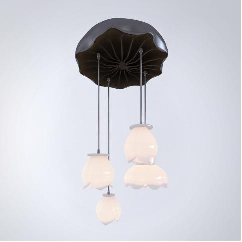 中式陶瓷吊灯3d模型下载