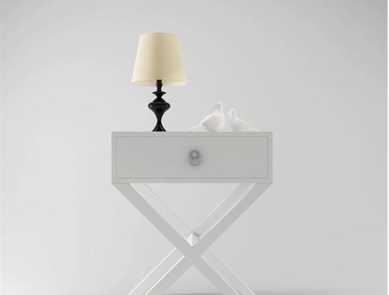 白色装饰主义床头柜3d模型下载