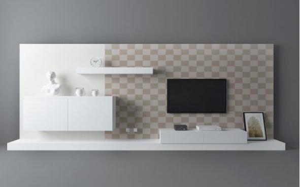 现代白色电视墙3d模型下载