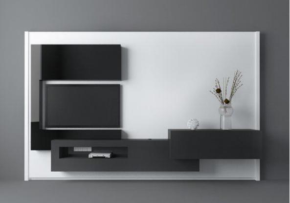 黑白现代客厅电视墙3d模型下载