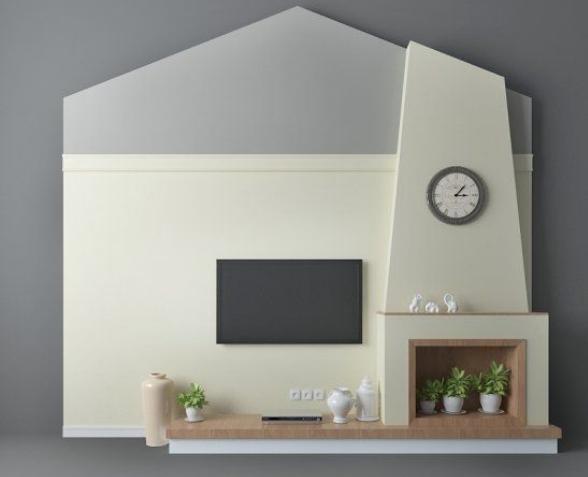 现代居家背景墙3d模型下载