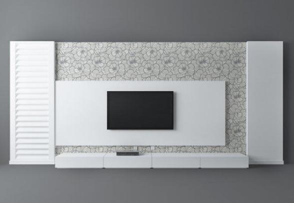 现代简约白色电视背景墙3d模型下载