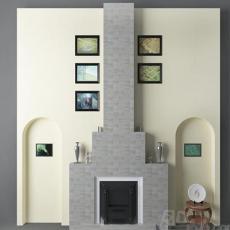 美式风格电视墙3d模型下载